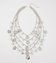 Erica Lyons® Silvertone Multi Row Shaky Disk Long Necklace