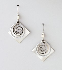 Silver Forest® Wavy Square and Circle Earrings