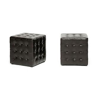 Baxton Studios Siskal Set of 2 Modern Cube Ottomans