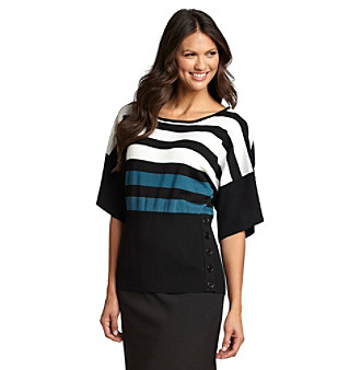 Cable & Gauge® High Rib Stripe Sweater with Buttons
