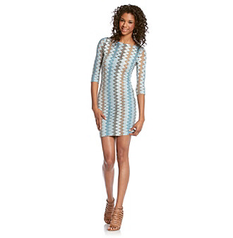 BB Dakota® Blue Larisa Zig Zag Dress