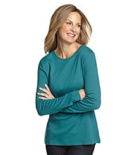 Studio Works® Petites' Long Sleeve Pullover Crewneck Tee