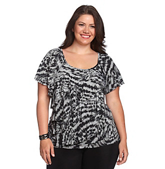 AGB® Plus Size Flutter Sleeve Asymmetric Ruffle Top
