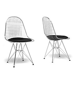 Baxton Studios Set of 2 Avery Mid-Century Modern Wire Chairs with Black Cushions