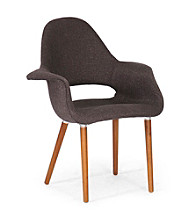 Baxton Studios Set of 2 Forza Dark Brown Fabric Mid-Century Modern Arm Chair