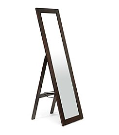 Baxton Studios Lund Dark Brown Wood Modern Mirror with Built-In Stand