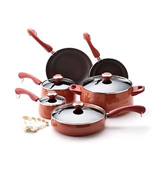 Paula Deen® Signature Porcelain Enamel Nonstick 15-pc. Coral Speckle Cookware Set