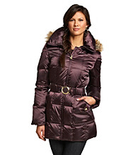 Laundry Belted Short Down Coat with Faux Fur-Trimmed Removable Hood