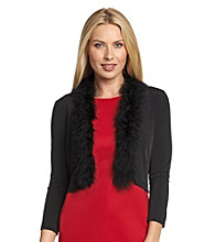 Calvin Klein Faux Fur-Trimmed Black Shrug