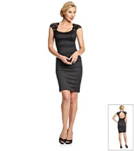Xscape Black Stretch Taffeta Lace Open Back Dress