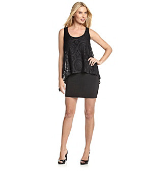 S.L. Fashions Body-Conscious Black Dress with Lace Overlay