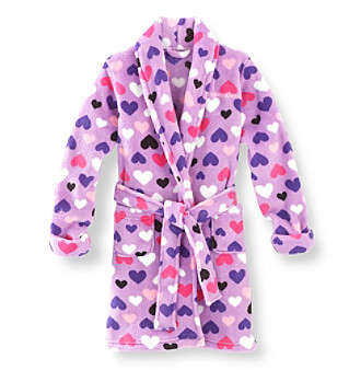 Calvin Klein Girls' 5-16 Purple Hearts Robe