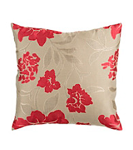 Surya Red & Beige Floral Decoratve Pillow
