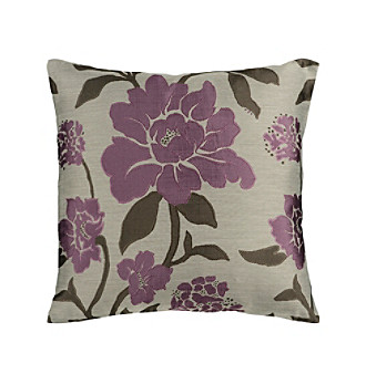 Chic Designs Plum & Grey Floral Decorative Pillow