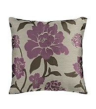 Surya Plum & Grey Floral Decorative Pillow