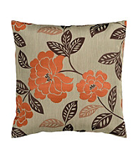 Surya Beige & Brown Floral Decorative Pillow