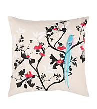 Surya Floral & Blue Bird Decorative Pillow