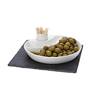 Maxwell & Williams White Basics Slate 3-pc. Round Olive Dish