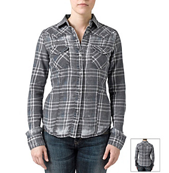 Silver Jeans Co. Burnout Plaid Woven Shirt