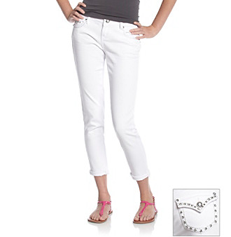 "Blue Spice® 29"" White Cropped Jeans with Flap-Back Pockets"