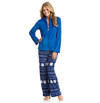 Jasmine Rose® Zip Top Microfleece Pajama Set - Royal Fairisle