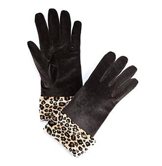 Cejon® Leopard Cuff Velvet Gloves - Solid Black