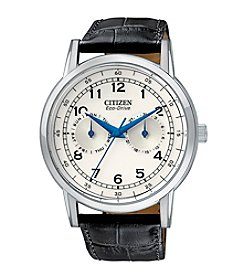 Citizen® Men's Eco-Drive Stainless Steel Watch with Black Leather Strap