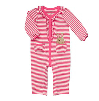 Carter's® Baby Girls' Grey/Pink Striped Jumpsuit