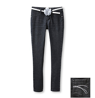 Squeeze® Girls' 7-16 Black Jeggings with Silver Belt
