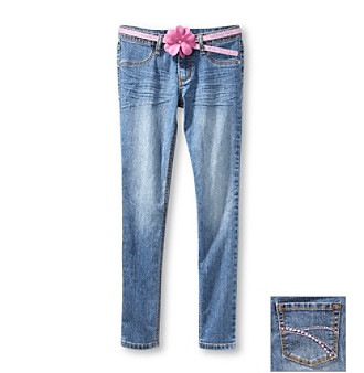 Squeeze® Girls' 7-16 Medium Stone Jeggings with Pink Flower Belt