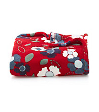 LivingQuarters Red Floral Micro Cozy Throw