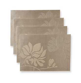 Alyssa Joy Champagne Floral Woven Set of 4 Place Mats