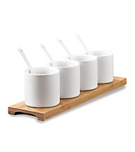LivingQuarters Whiteware Set of 4 Small Bowls with Tray & Spoons