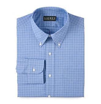 Lauren Ralph Lauren Men's Blue Plaid Broadcloth Dress Shirt