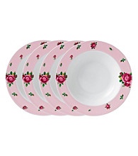 Royal Albert® New Country Roses Pink Modern Casual Set of 4 Rimmed Soup or Salad Bowls