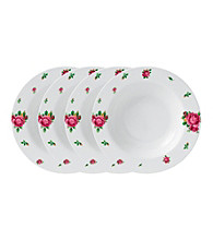 Royal Albert® New Country Roses White Modern Casual Set of 4 Rimmed Soup or Salad Bowls