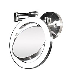 Zadro Dual Sided Wall Mount Lighted Mirror with 1x & 10x Magnification