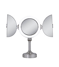 Zadro Dual Sided Lighted Vanity Tri-Fold Pedestal Mirror with 1x & 10x Magnification