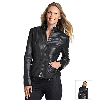 Gallery® Black Zip-Front Faux Leather Jacket with Stand Collar
