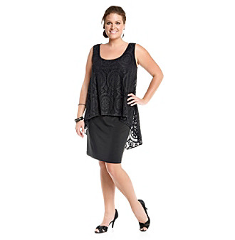 S.L. Fashions® Plus Size Crochet Overlay Dress