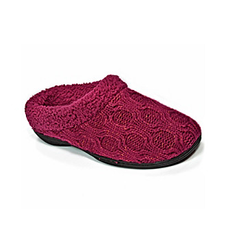Dearfoams Red Wine Aran Sweater Knit Clog