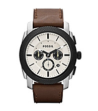 Fossil® Men's Brown Machine Leather Watch