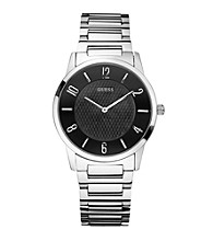 Guess Men's Silvertone Sleek Trim Dress Watch