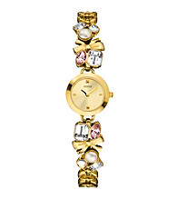 Guess Women's Goldtone Crystalized Romance Watch
