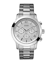 Guess Men's Silvertone Bold Contemporary Chronograph Watch
