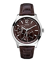 Guess Men's Brown Croco Leather Contemporary Dress Sport Watch