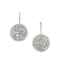 Fossil® Clear Glitz Silvertone Disc Earrings