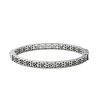 Fossil® Silvertone Signature Pattern Cutout Hinged Bangle
