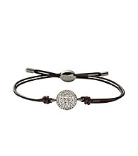 Fossil® Clear Pave Silvertone Disk on Chocolate Leather Cording Wrist Wrap