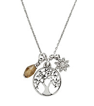 Fossil® Silvertone Tree Charms Pendant Necklace